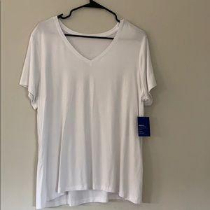 A plain white V-neck tee shirt